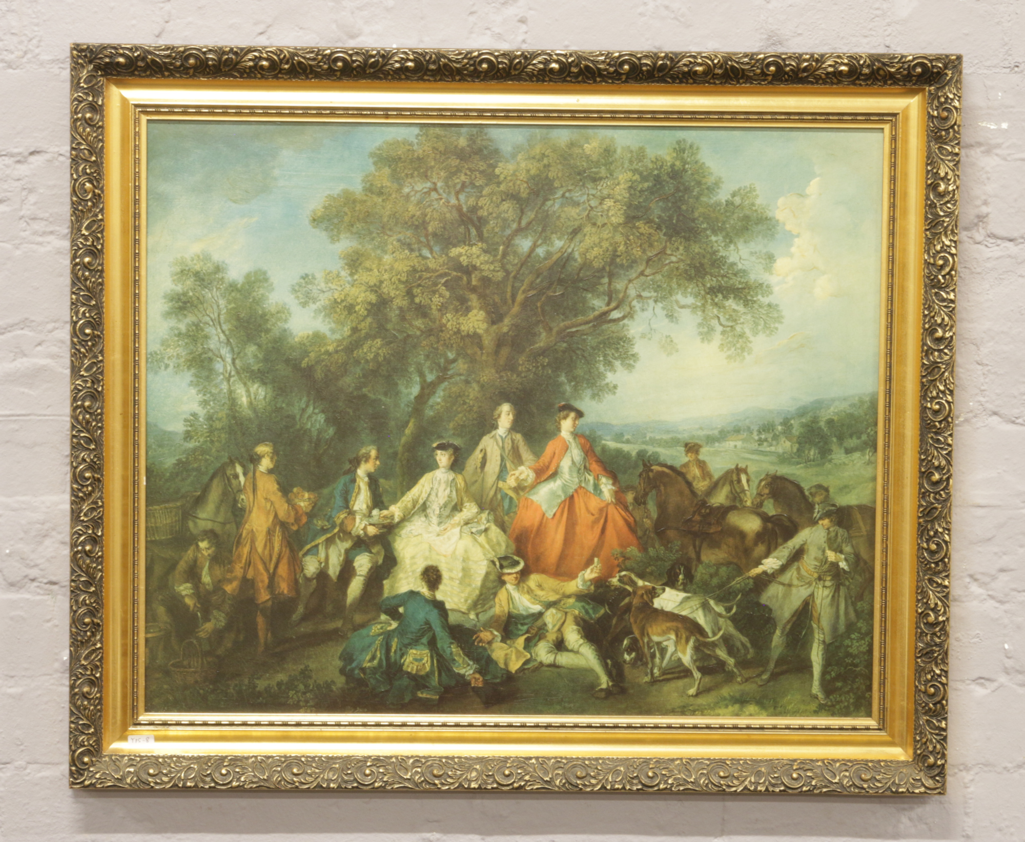 Lot 300 - A gilt framed oilograph of figures in period dress in country landscape.
