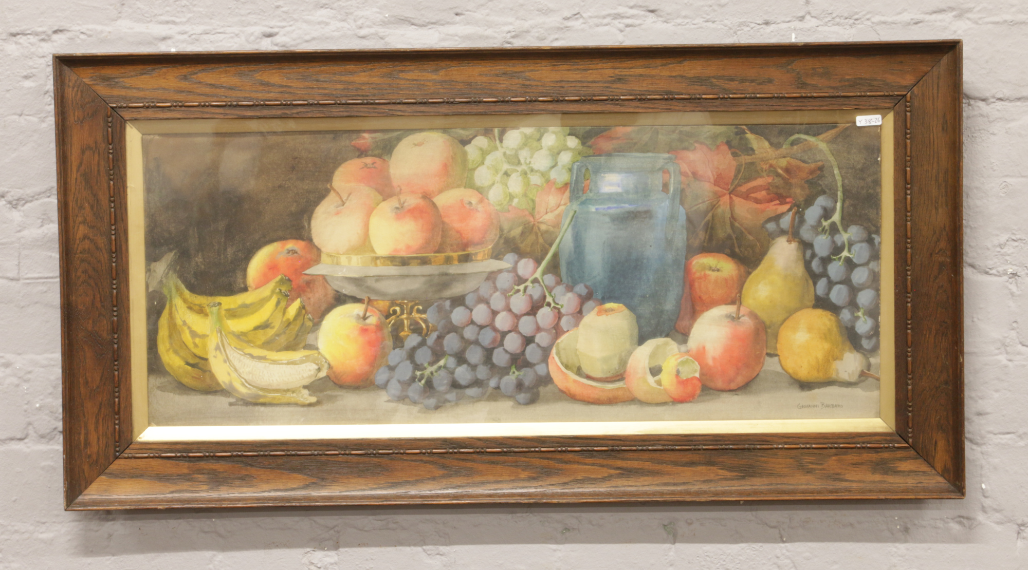 Lot 301 - Giovanni Barbaro, an oak framed watercolour still life with fruit, signed 30cm x 75cm.Condition