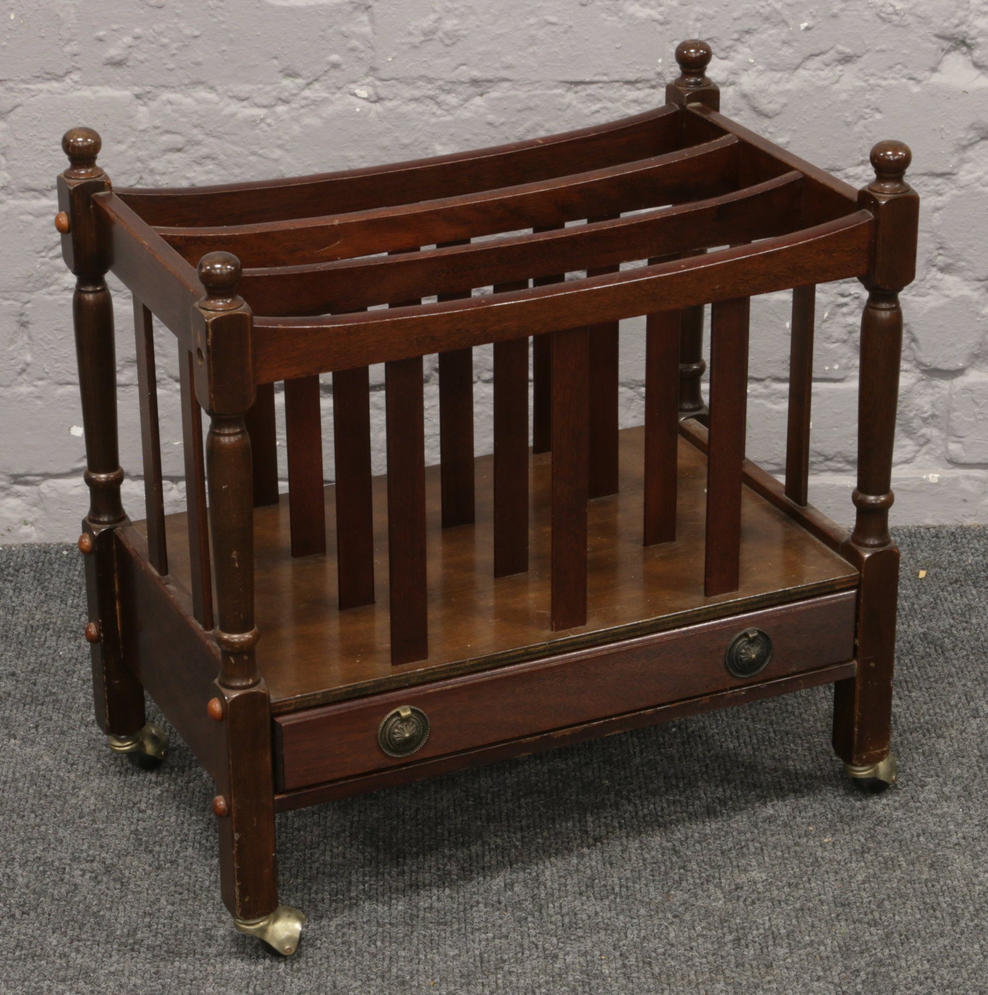 Lot 602 - A mahogany Canterbury.Condition report intended as a guide only.Some damage.