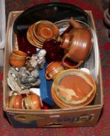 Lot 125 - A box of miscellaneous to include Lamorna stoneware teaset, Royal Worcester coloured and cut