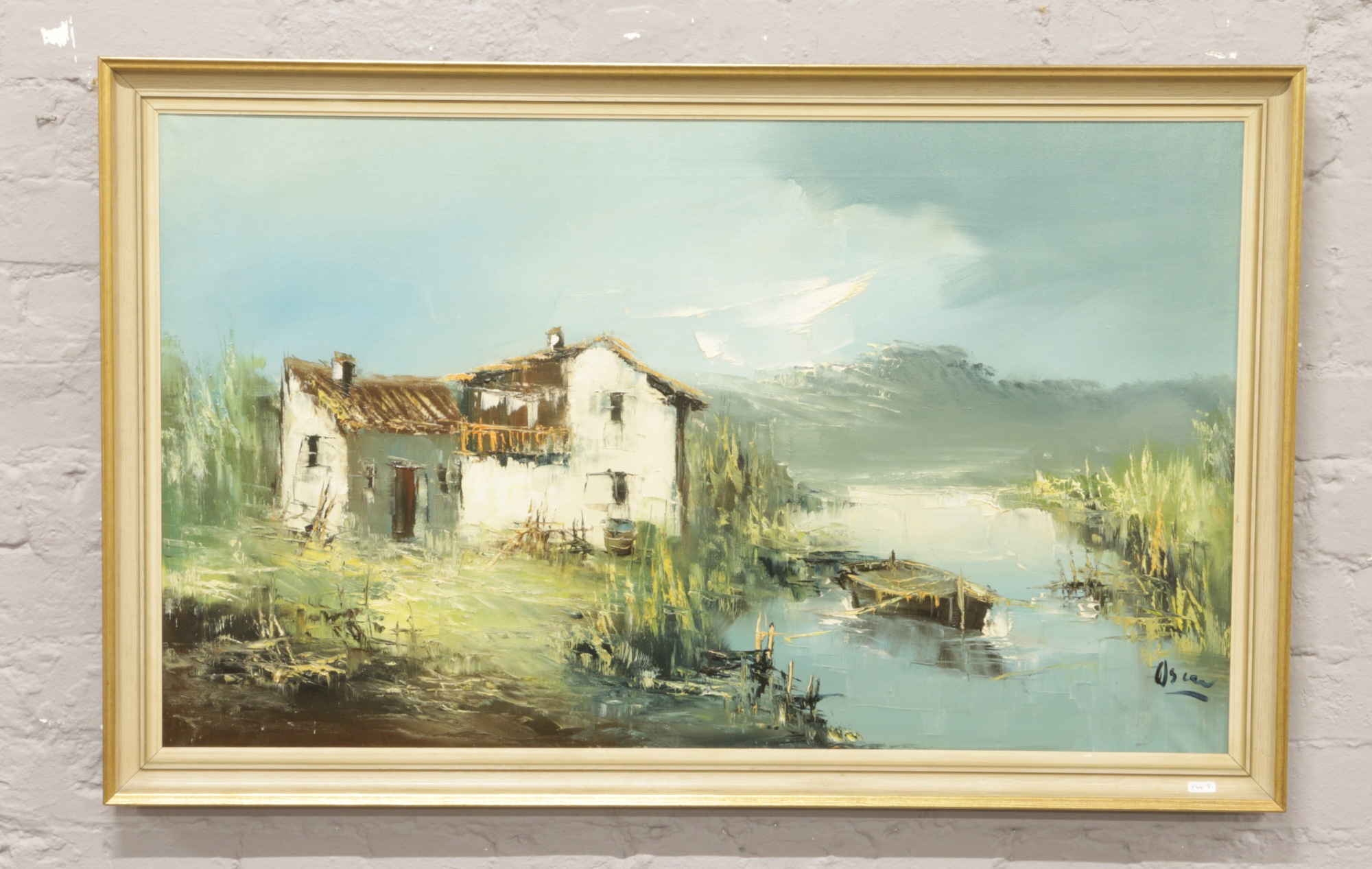 Lot 305 - A signed oil on canvas study of cottage and lake scene signed Oscar.