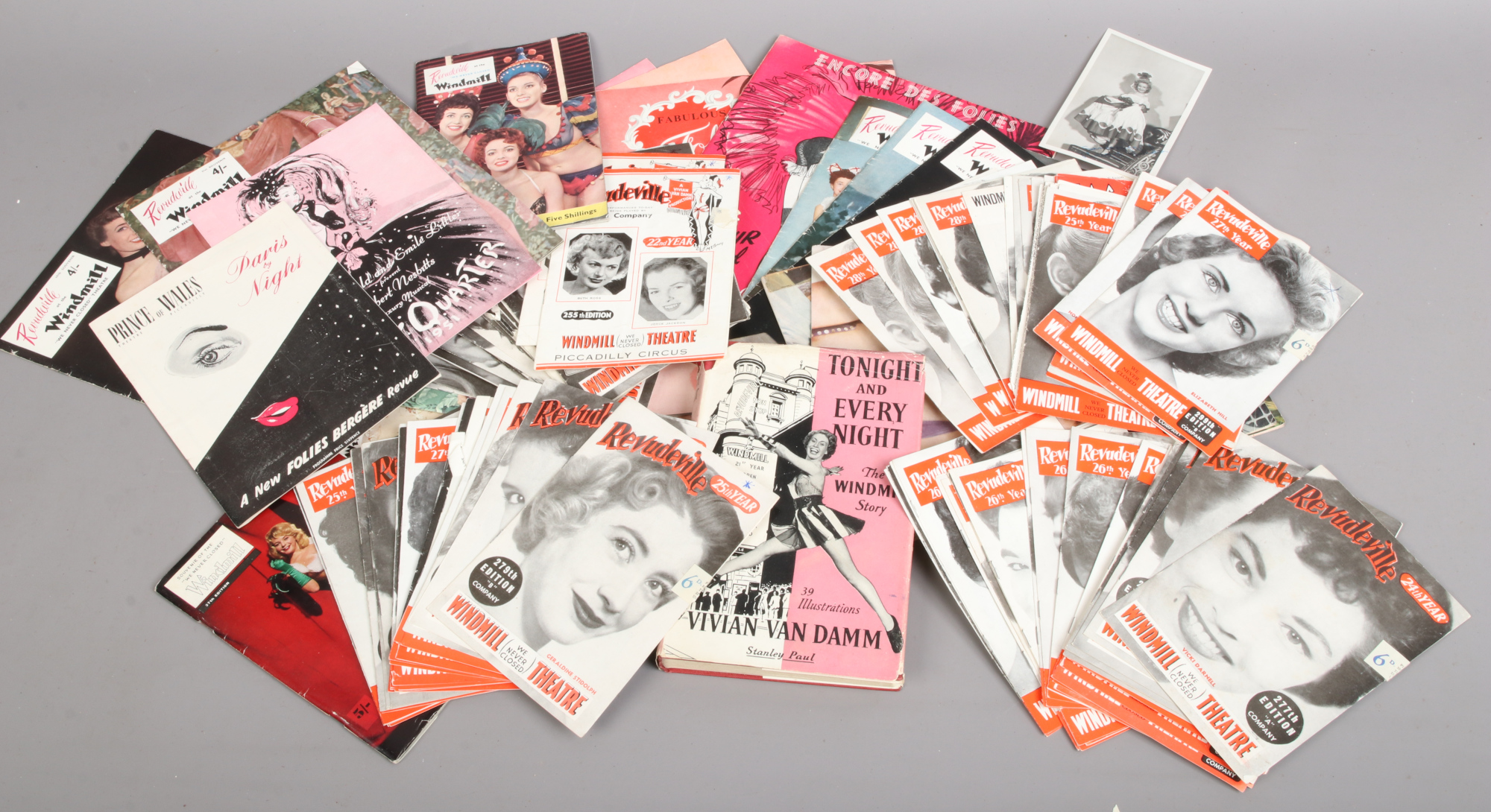 Lot 205 - A collection of Folies Bergere magazines and Windmill theatre programmes along with a autographed