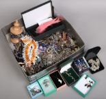 Lot 204 - A box of costume jewellery to include beads, bangles, earrings, necklaces etc.