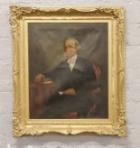 Lot 293 - An early 20th century gilt framed oil portrait of a seated gentleman, 74.5cm x 61.5cm.Condition