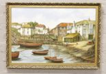 Lot 294 - Alan Fox, gilt framed oil on canvas. Harbour scene with a fisherman. Inscribed to the rear, Port