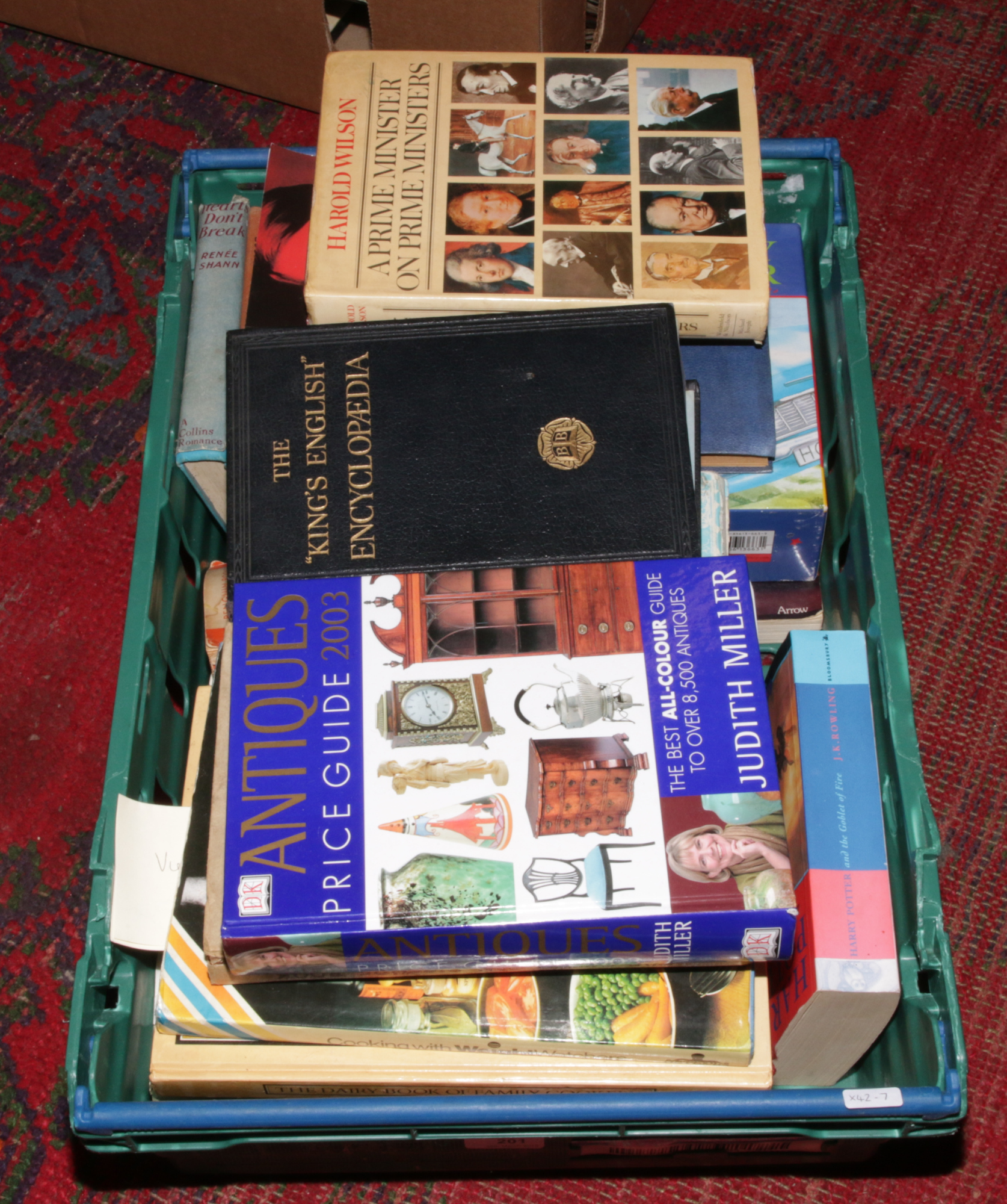 Lot 201 - A box of books to include antique price guides, Harry Potter, The Peter Pan picture book etc.