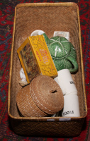 Lot 74 - A basket of collectables including Goodwin golden casket jigsaw, kitchenalia and cabbage moulded