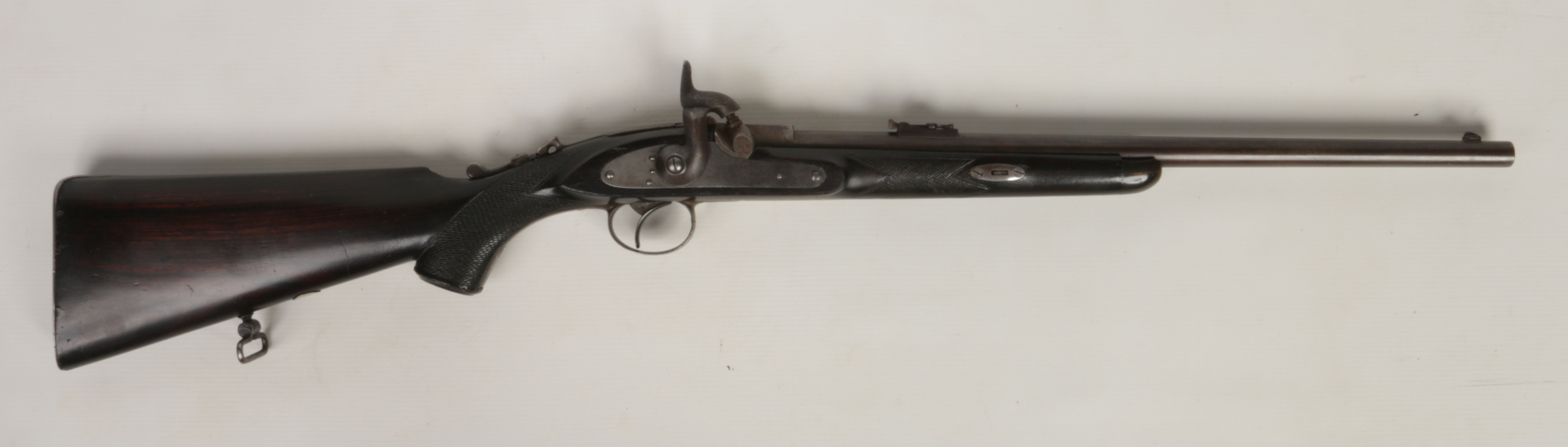 Lot 264 - A Westley Richards & Co. Whitworth patent breech loading monkey tail percussion rifle .450. With