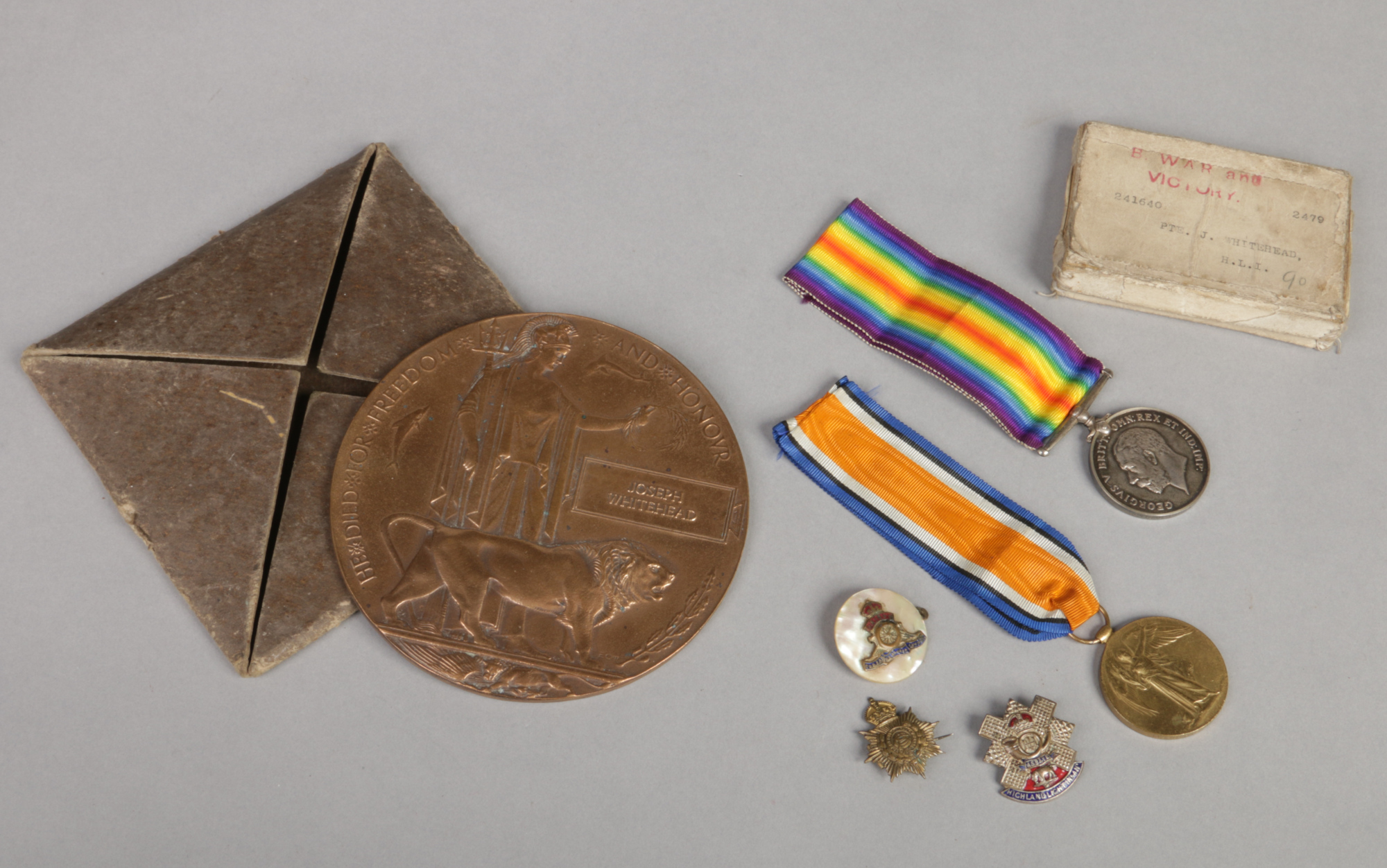 Lot 437 - A World War I memorial bronze death plaque, War medal and Victory medal awarded to 241640 Pte.