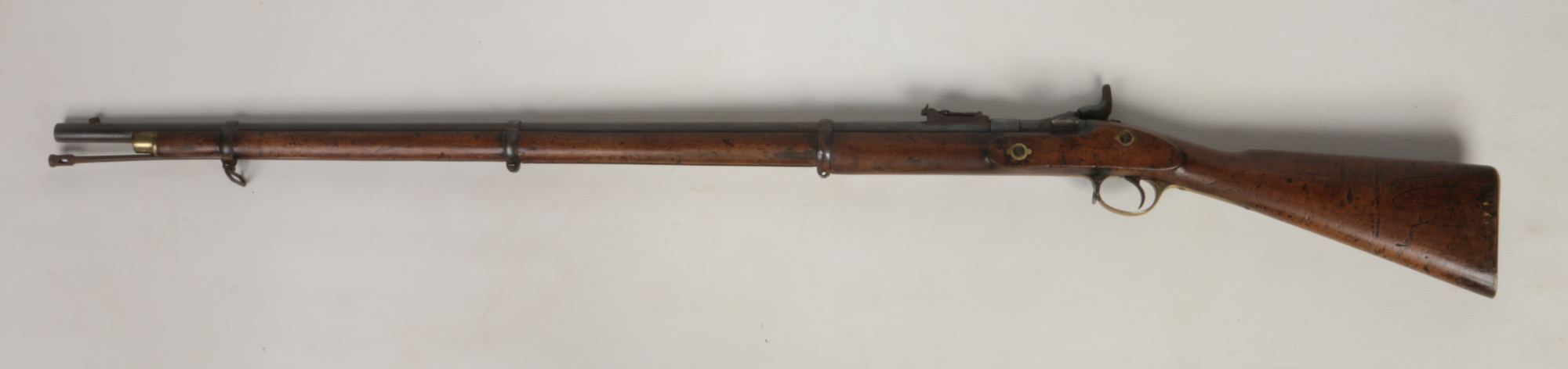 Lot 262 - A P53 Tower pattern three band percussion rifle with Schneider conversion .577. With walnut