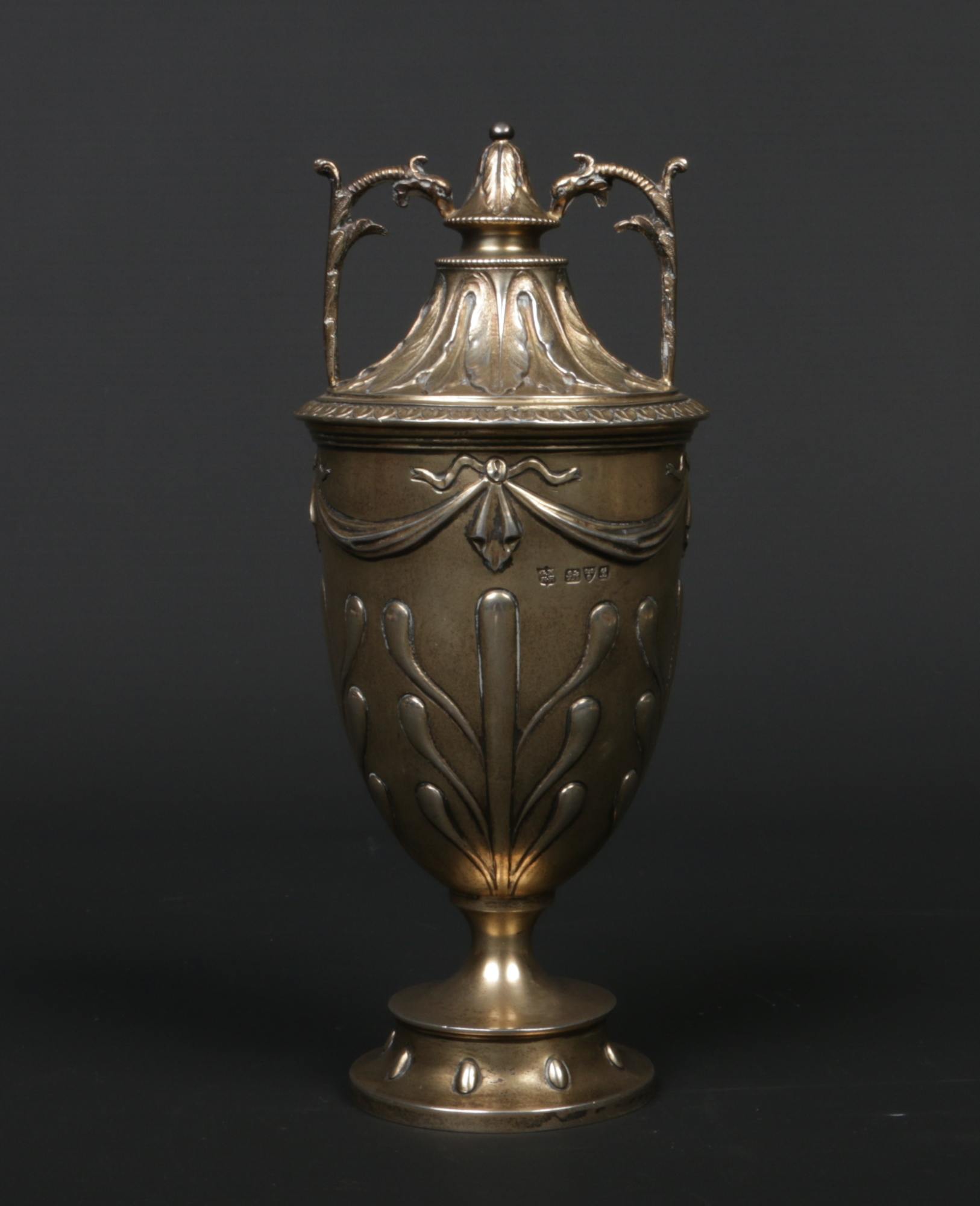 Lot 381 - A George V silver twin handled trophy by George Nathan & Ridley Hayes. Embossed with acanthus
