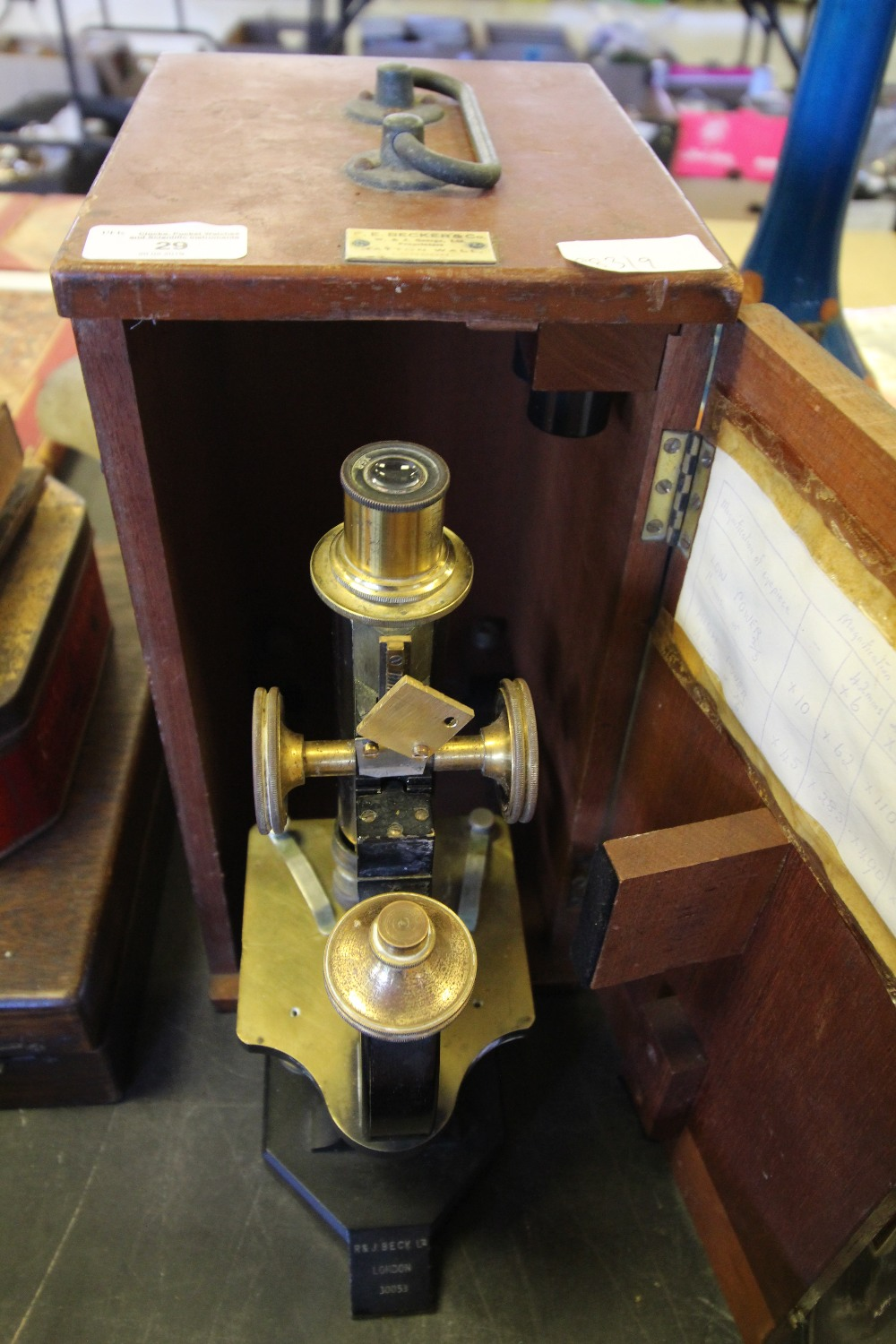 Lot 29 - R & J Beck (London) 30053 Microscope and Becher & Co Case