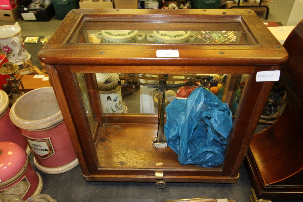 Lot 51 - C19th Mahogany & Glass Encased Scales (London)