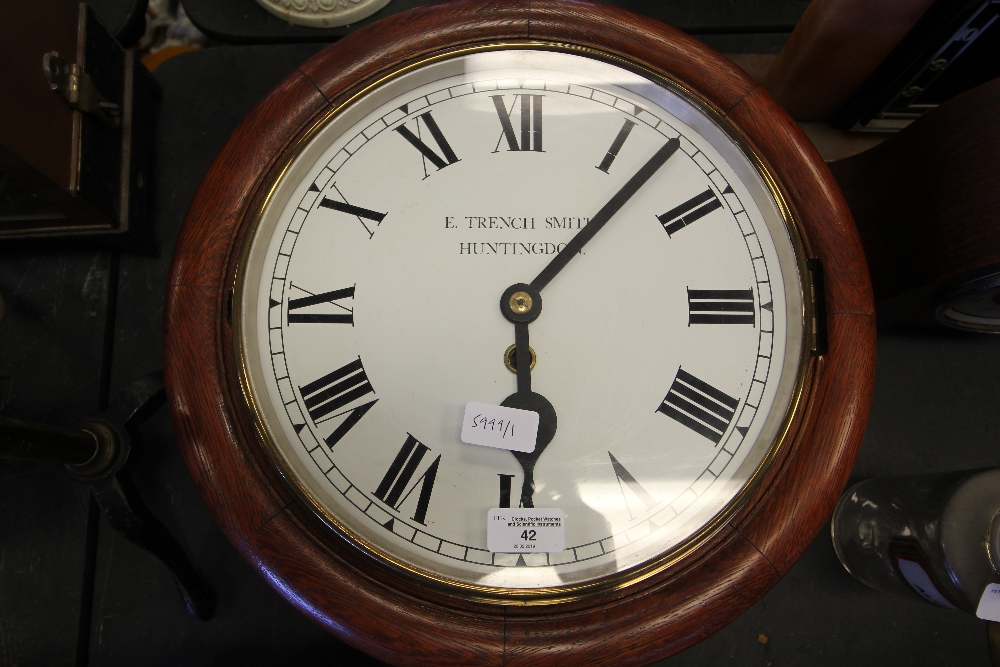 Lot 42 - 19th Century Oak Dial Clock, dial worded Trench Smith, Huntingdon (dial replaced)