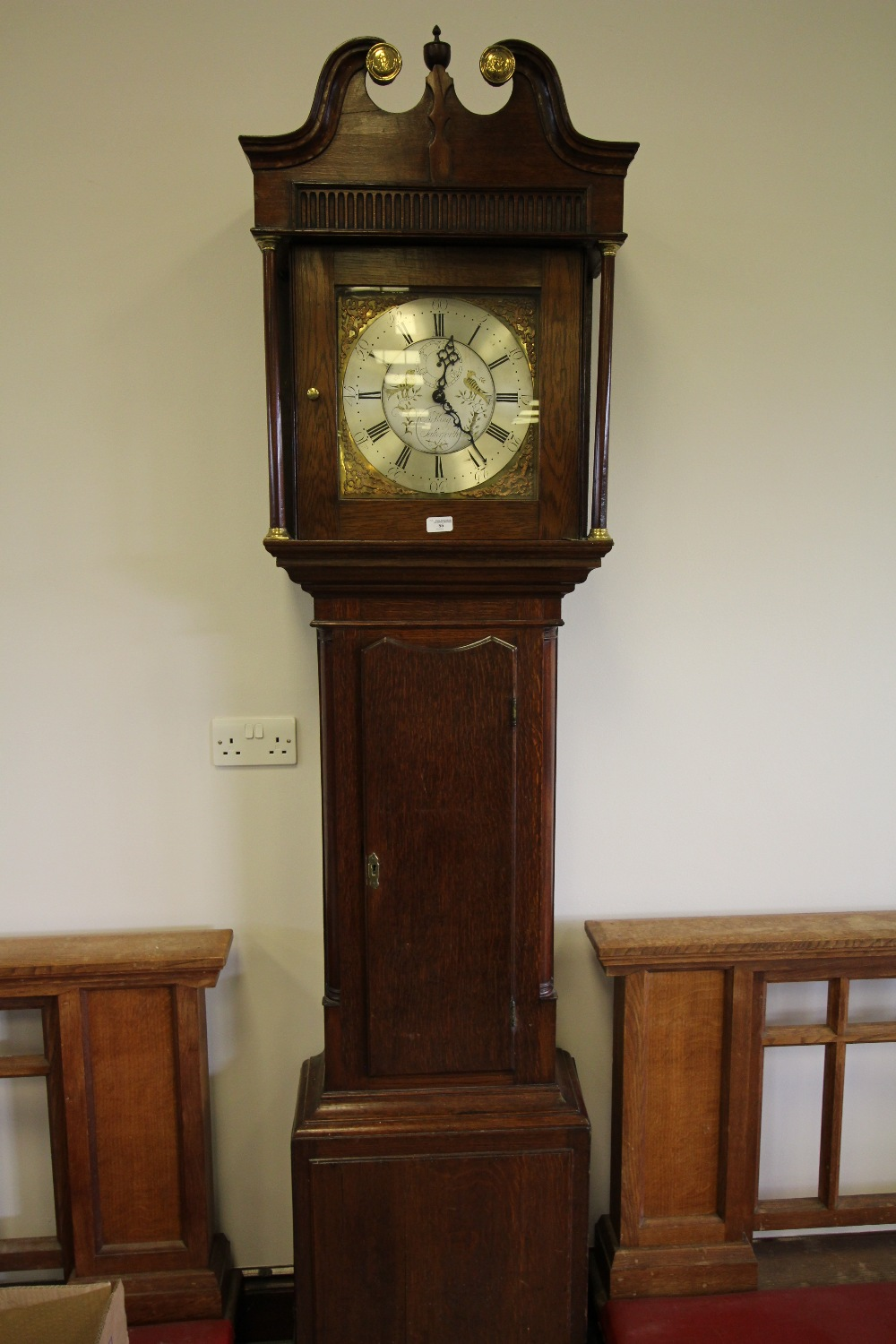Lot 55 - 19th century oak long-case clock by J King of Salterforth (dial lacking hands)