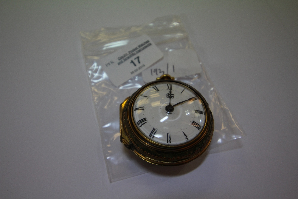 Lot 17 - 18th century shagreen and gold coloured metal pair cased verge pocket watch by Robert Green of