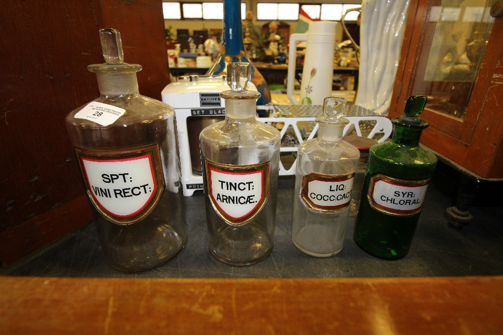 Lot 28 - 5 Apothecary Bottles including Green Bottle