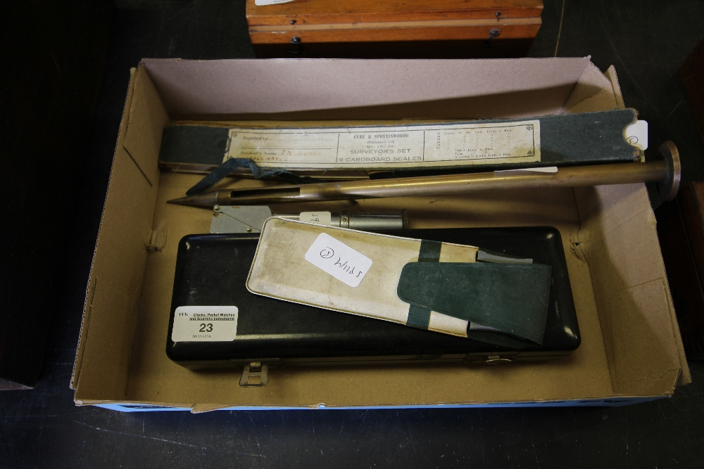 Lot 23 - Cased Allbrit Vernier, Eyre & Spottiswoode box set of nine cardboard scales and three other items