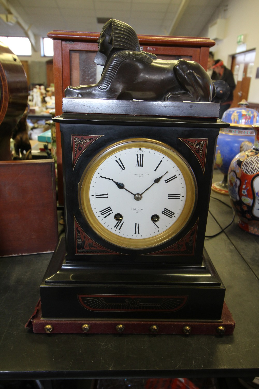Lot 53 - Victorian black slate mantel clock by Frodsham, of Egyptian revival design