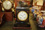 Lot 53 - Victorian black slate mantel clock by Frodsham, of Egyptian revival design