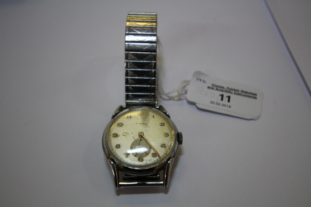Lot 11 - Vintage gents stainless steel cased wristwatch