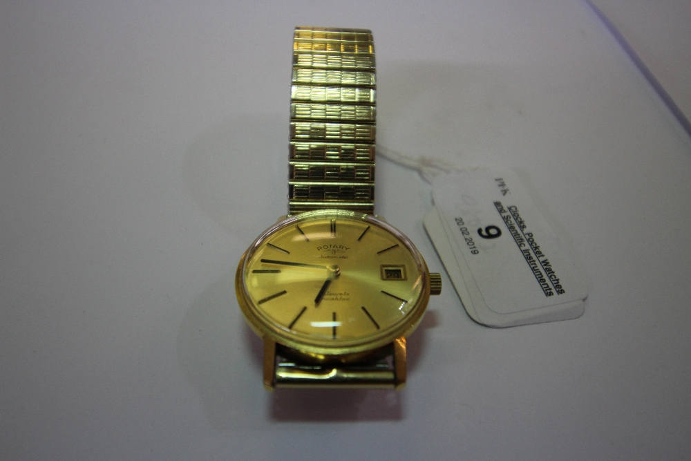 Lot 9 - Rotary automatic gold-plated gents' wristwatch