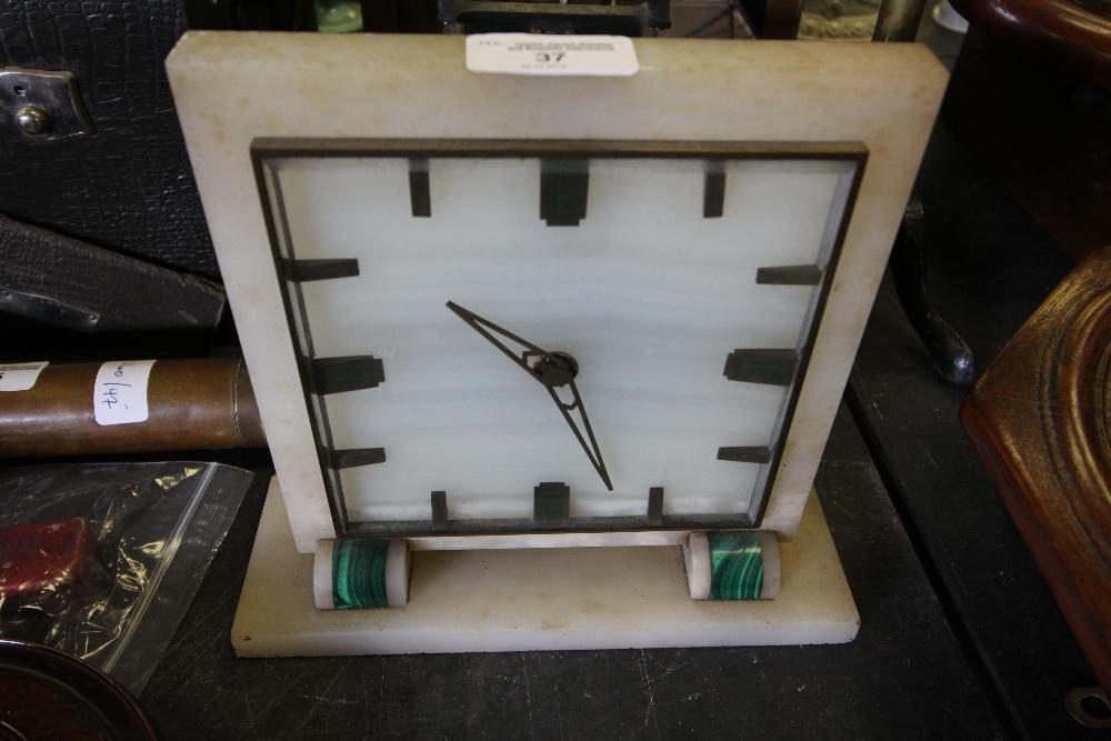 Lot 37 - 1930's White Onyx & Malachite Mantle Clock