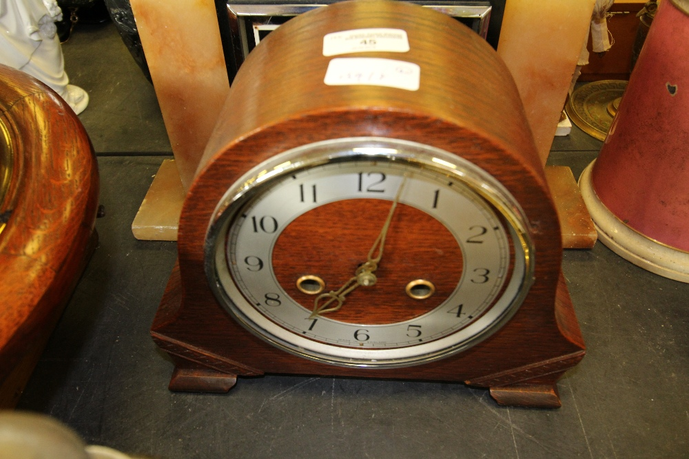 Lot 45 - Art Deco Mantle Clock & Wooden Clock