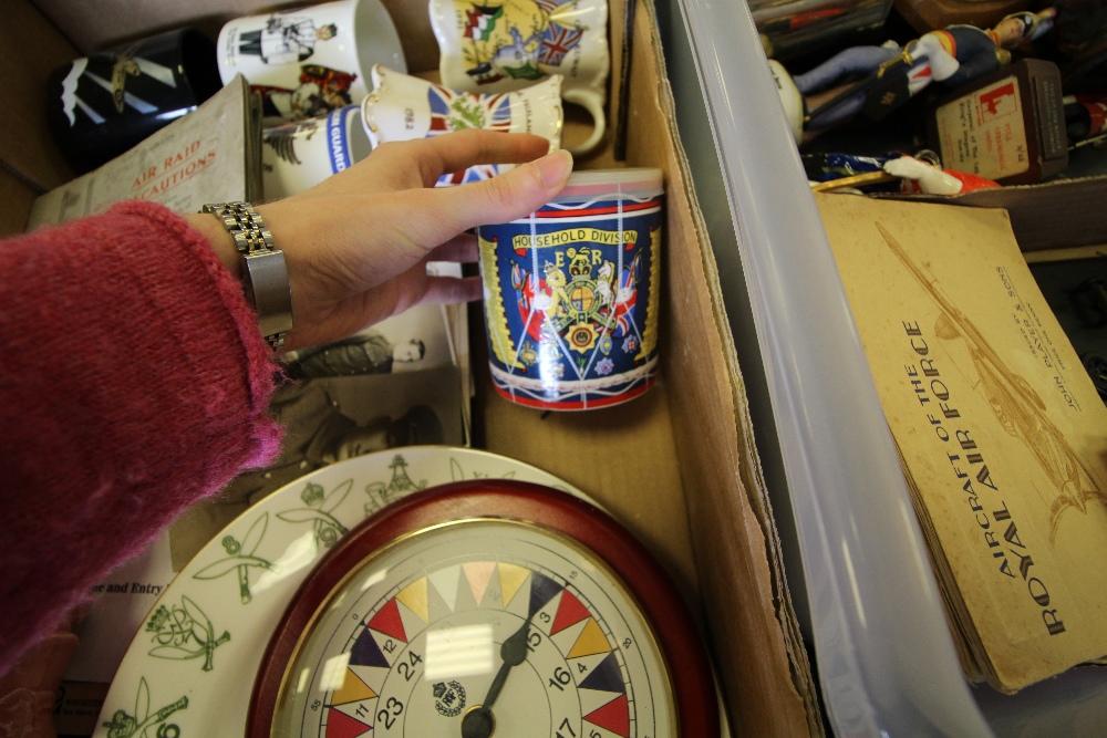 Lot 4 - Box of mixed Militaria inc Swagger Stick and Kitchener Mug