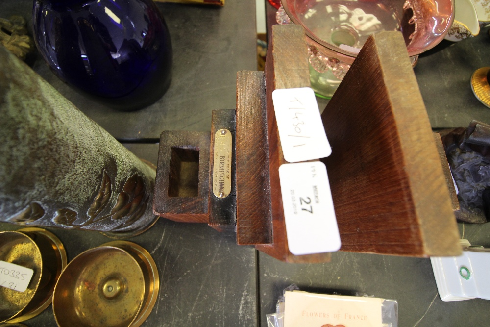 Lot 27 - Pair of Bookends (Made from the teak from HMS Terrible and Birmingham)