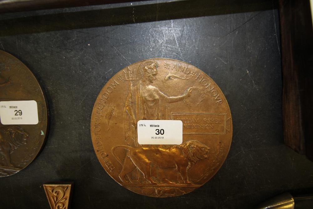Lot 30 - William Fisher Wilkinson WW1 Memorial Plaque