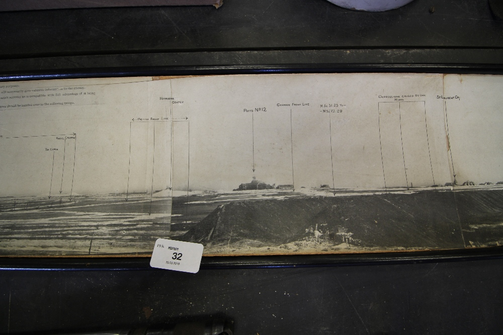 Lot 32 - WW1 Military Issue Annotated Trench Panorama P48, Framed (A/F)