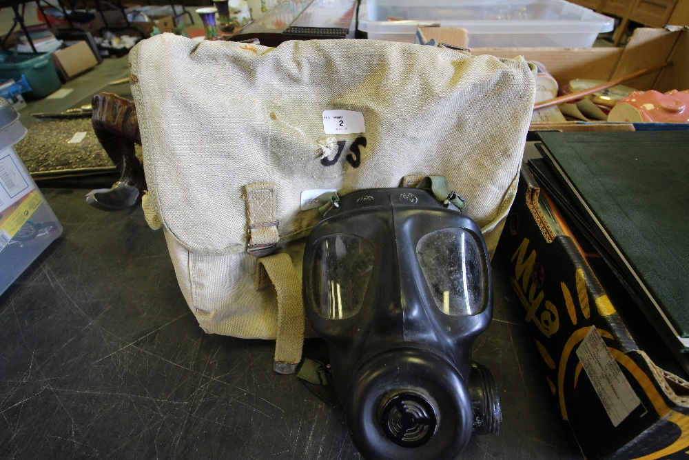 Lot 2 - Canvas Bag & Gas Mask - marked 'US'