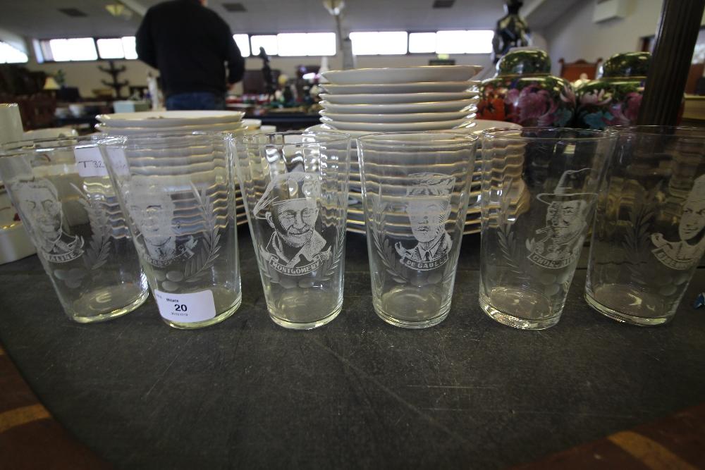 Lot 20 - Set of 6 Engraved Glasses of WW2 Interest
