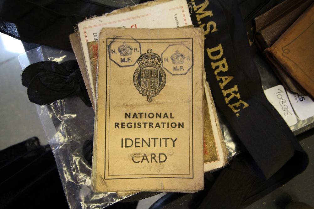 Lot 25 - Group including National Identity Cards, Naval Hat Ribbons etc