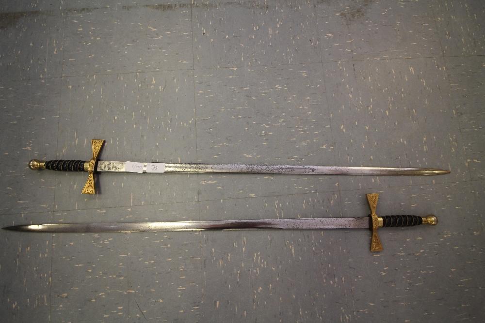 Lot 24 - 2 Dress Swords (made by Wilkinson Sword) - possibly Masonic