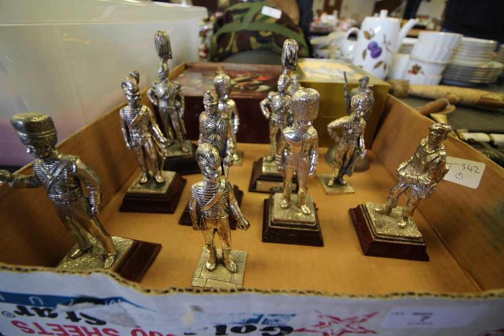 Lot 7 - Box of Pewter Soldiers (13) and Britains Set