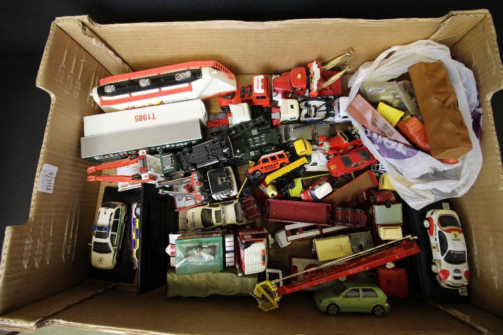Lot 38 - Box of Corgi, Matchbox model diecast cars - unboxed