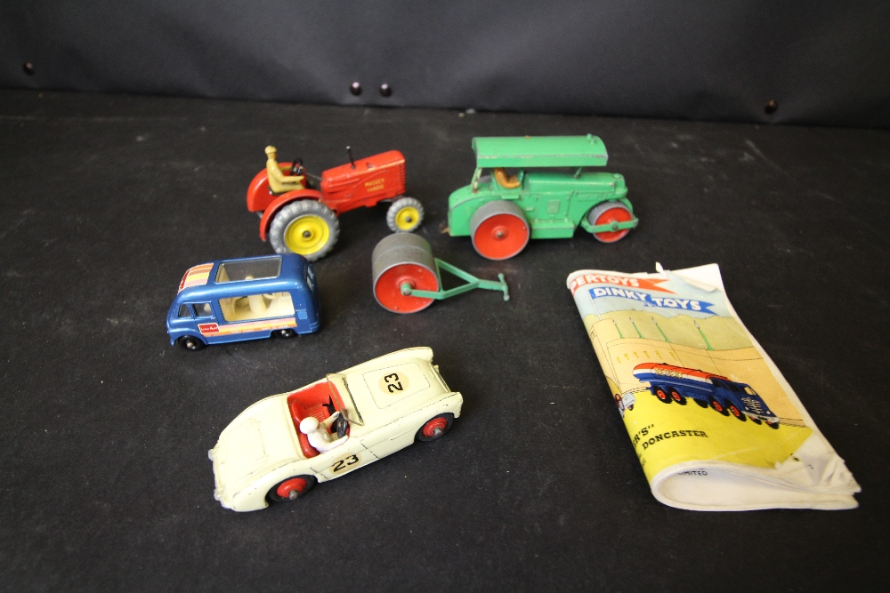 Lot 54 - Dinky tractor, road roller, Austin Healy and catalogue 1956 and Healy ice cream van