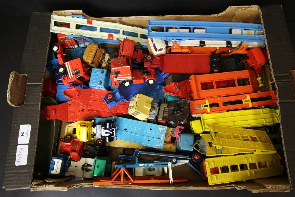 Lot 24 - Box of diecast Matchbox, Corgi Car Transporters unboxed