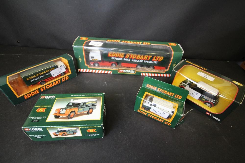 Lot 55 - Corgi Eddie Stobart 59502, Ford Container Truck 07402, Corgi Classics 86515, Ford Transit Van