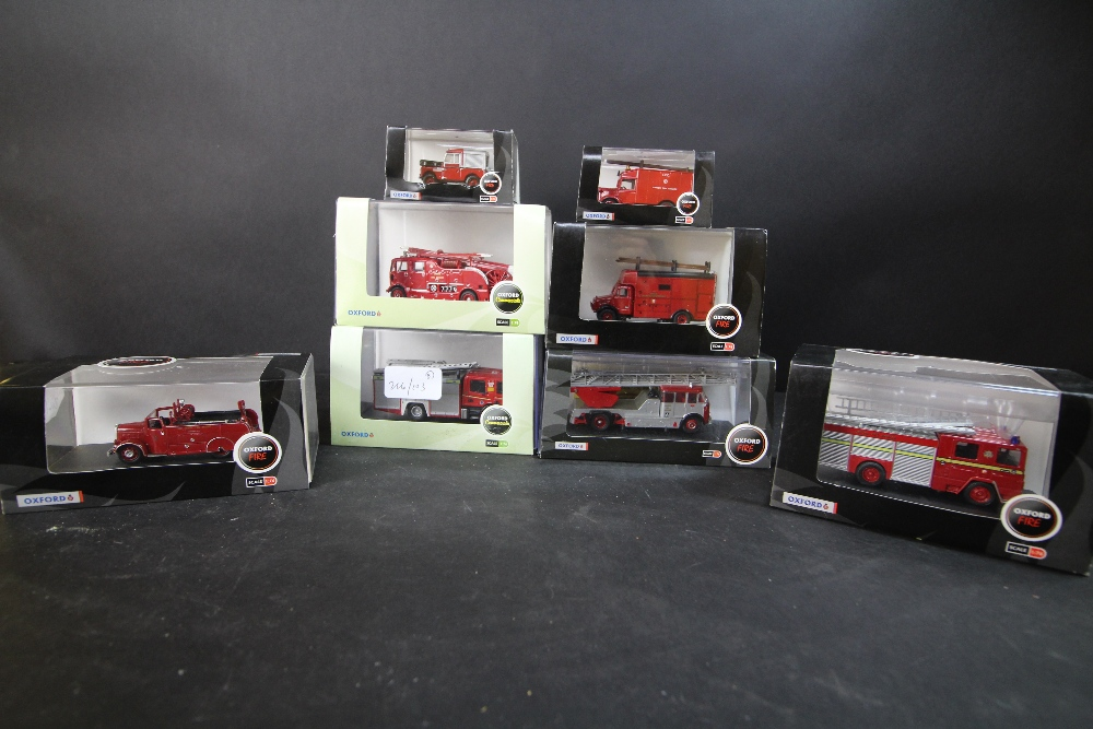Lot 37A - 8 Oxford 'Fire' Commercials Fire Engines/Vehicles 1:76 scale