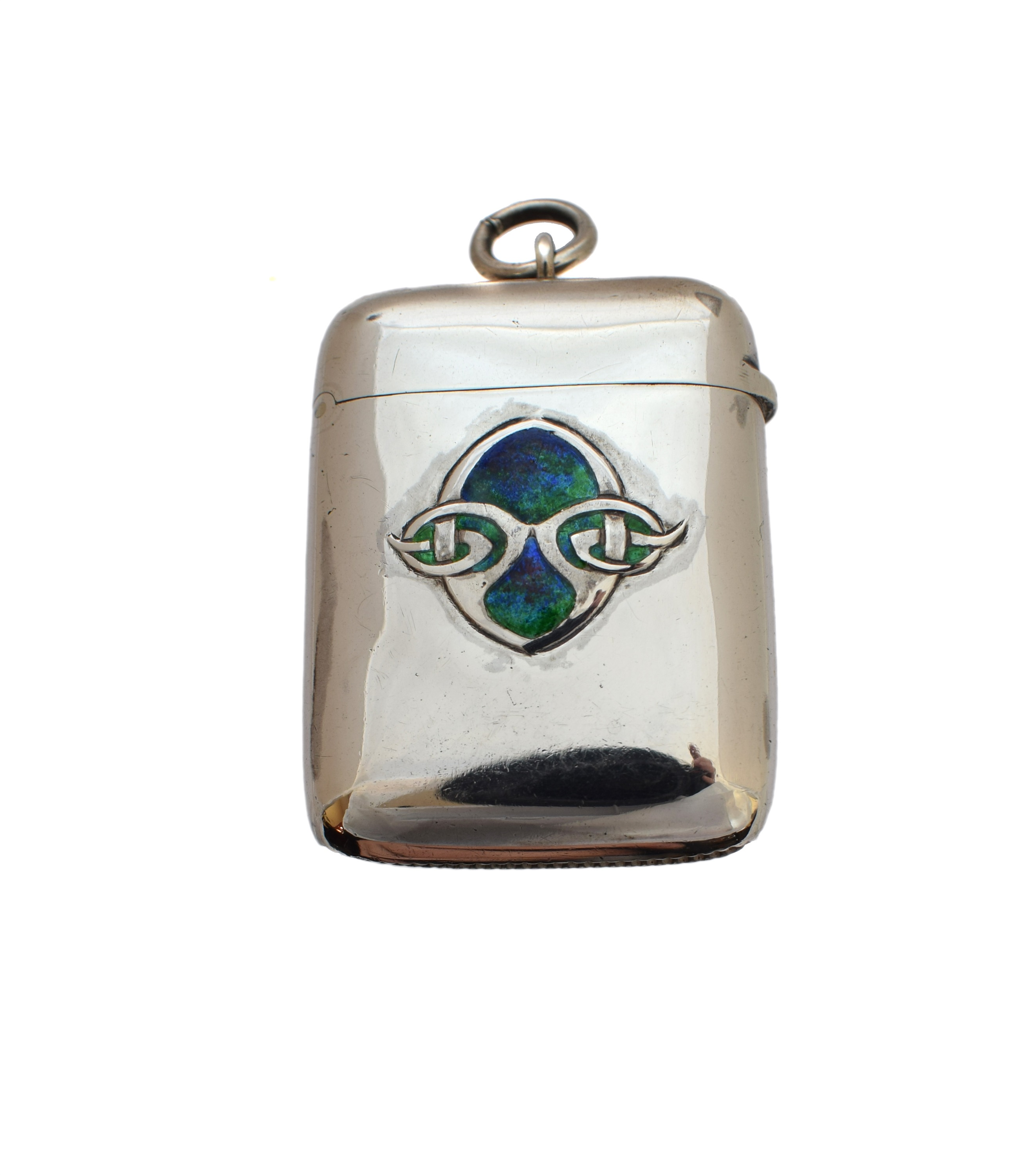 Lot 19 - A Liberty & Co. Cymric silver and enamel vesta case designed by Archibald Knox,