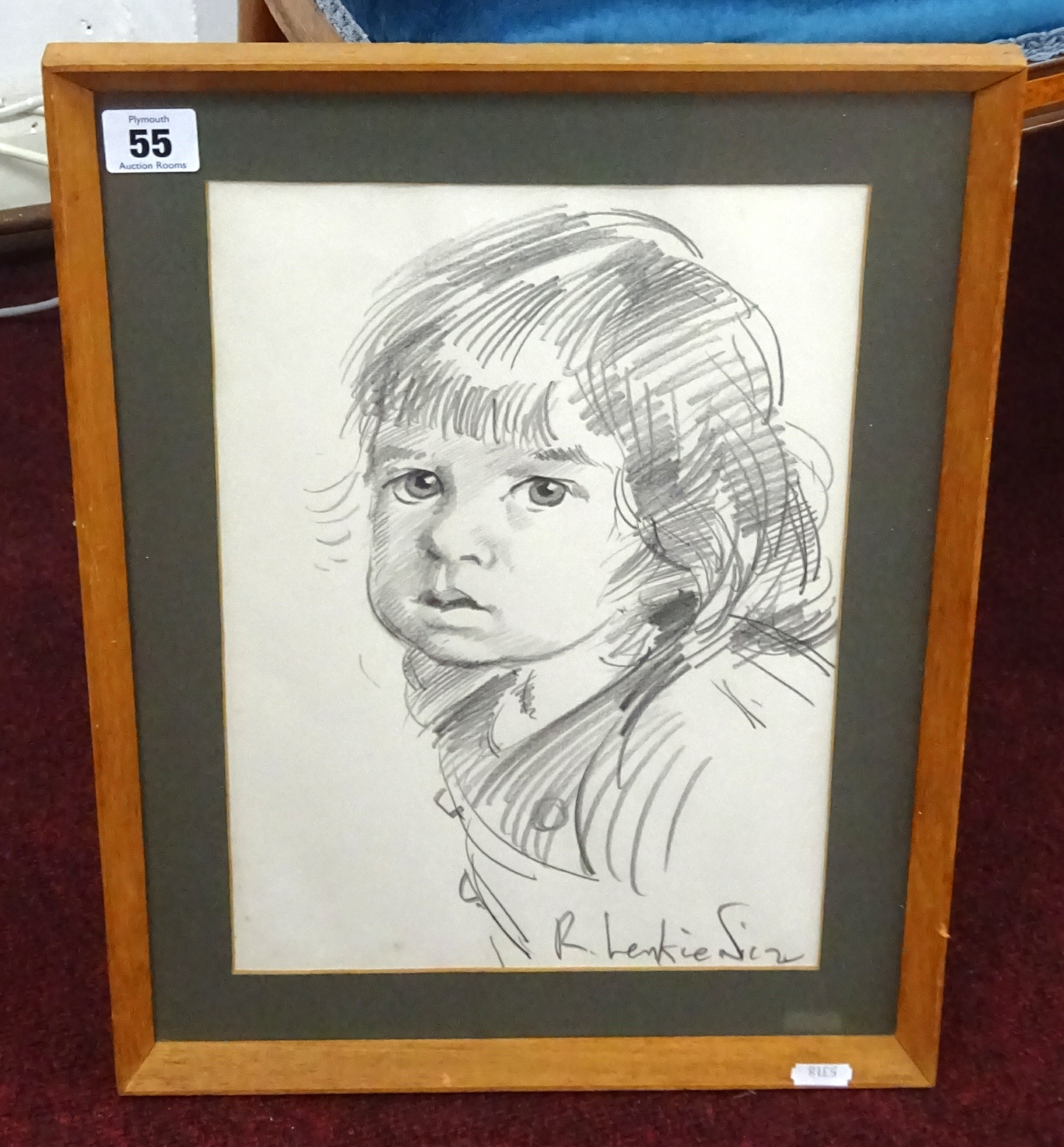 Lot 055 - Robert Lenkiewicz (1941-2002) pencil portrait sketch, circa 1970, signed, framed and glazed, 32cm