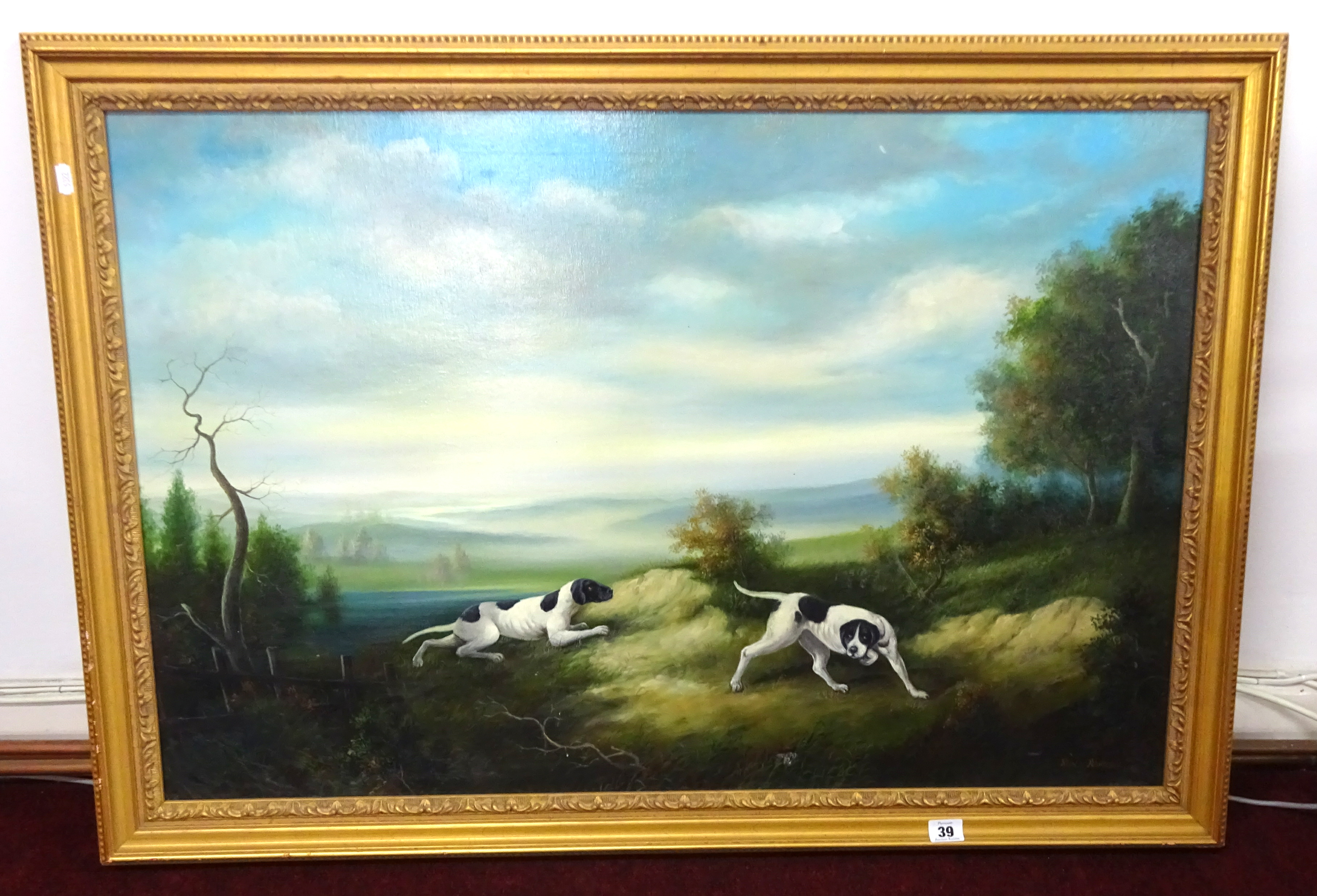 Lot 039 - Ron Harding, 20th century, 'Two gun dogs in a landscape', 59cm x 90cm, framed.