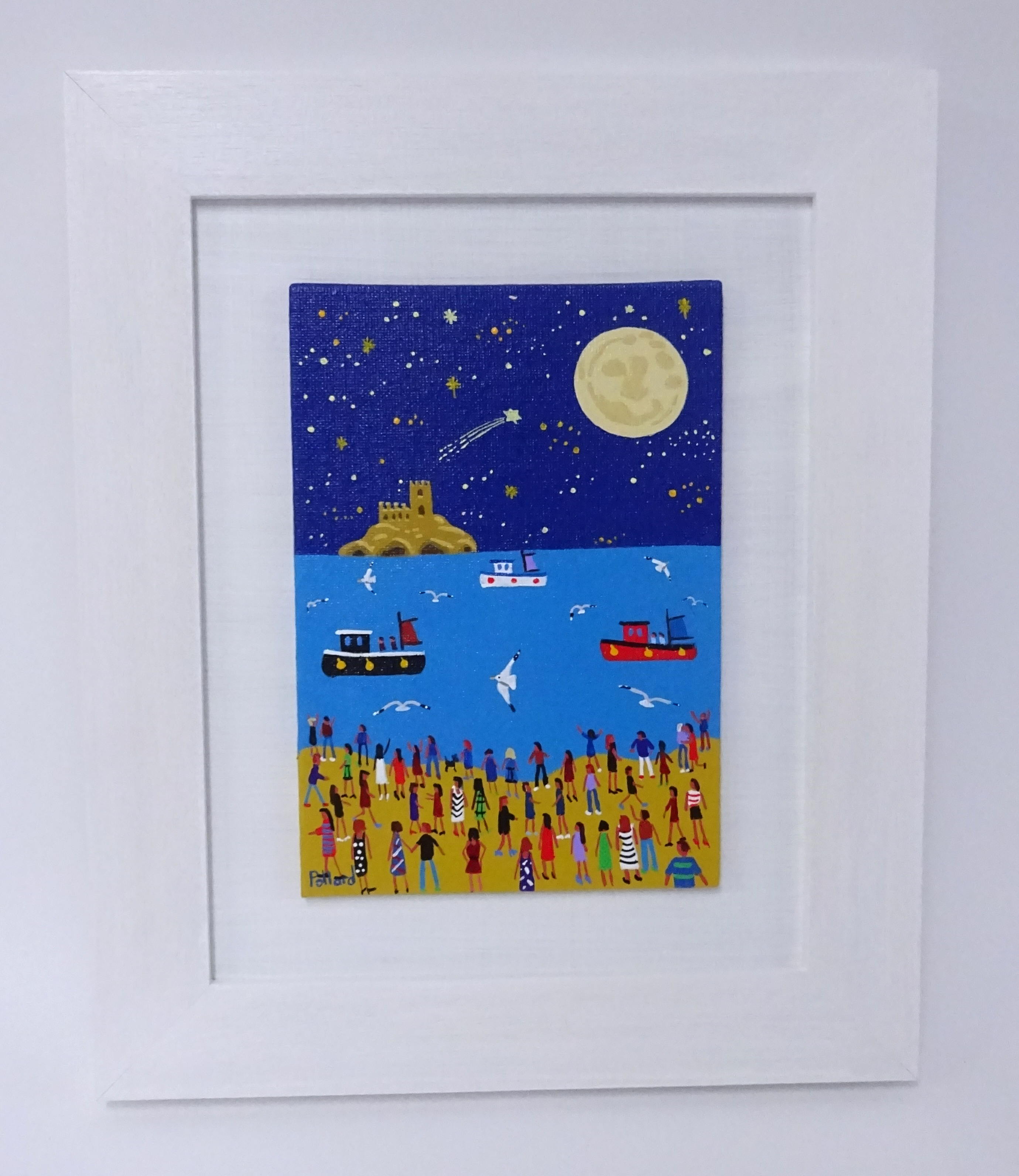 Lot 005 - Brian Pollard original acrylic on a canvas board, titled 'Full Moon Over Mounts Bay', painted July