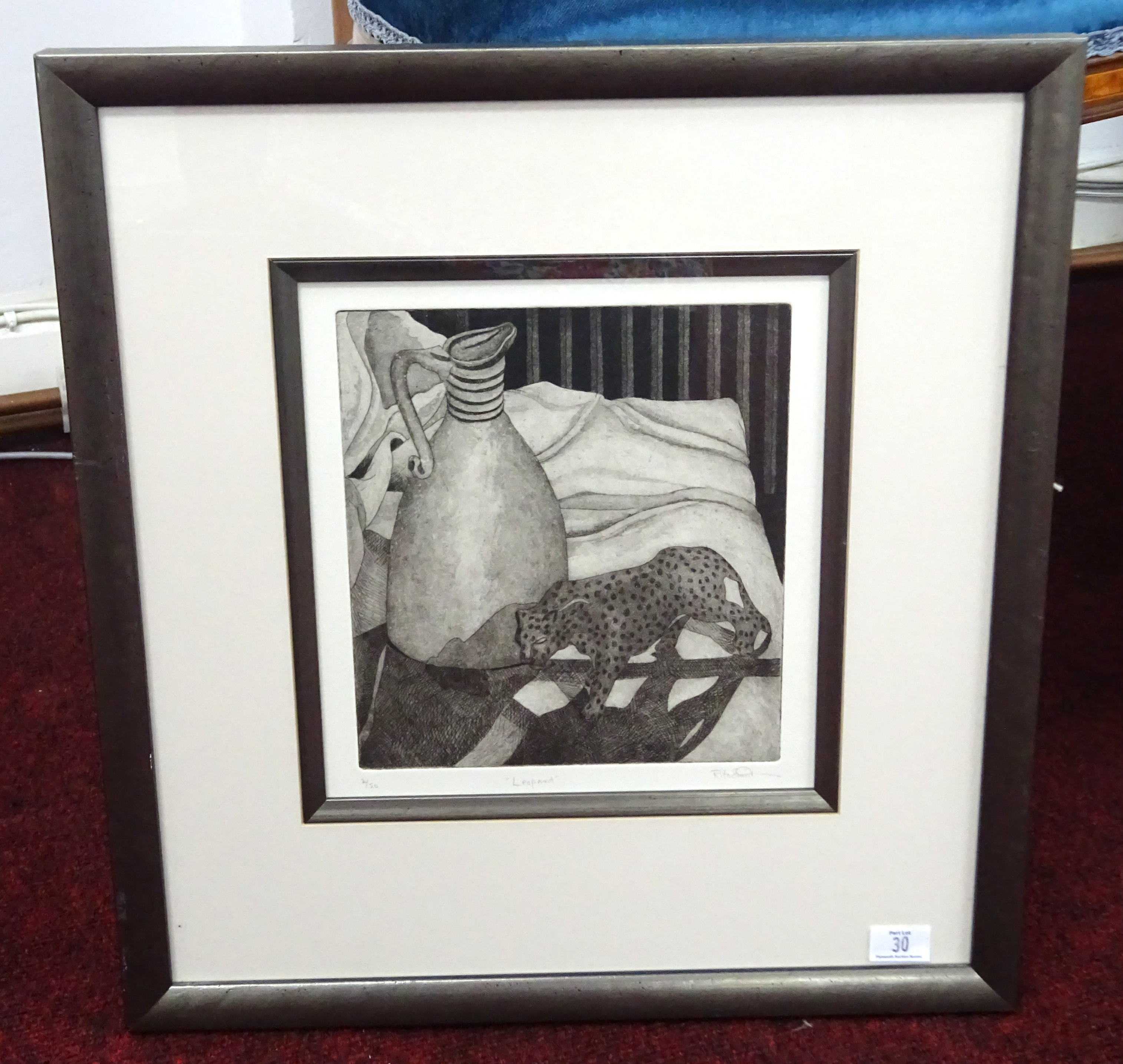 Lot 030 - Rita Smith (contemporary artist based in Plymouth) two signed etchings, 'Measures' and 'Leopard',