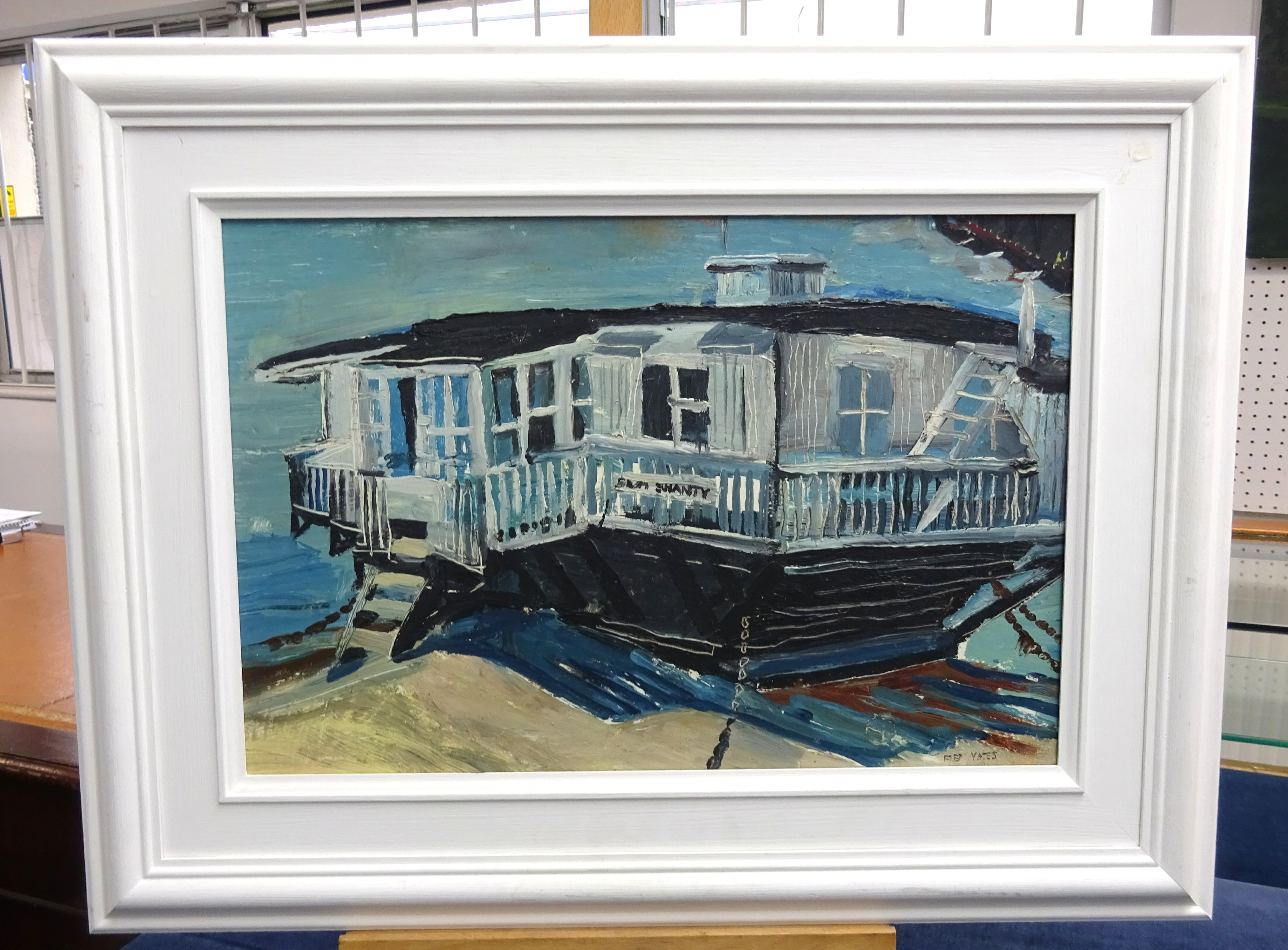 Lot 012 - Fred Yates (1922-2008), oil on board 'Sea Shanty', signed, label verso 'Sea Shanty, Sandbanks', 30cm