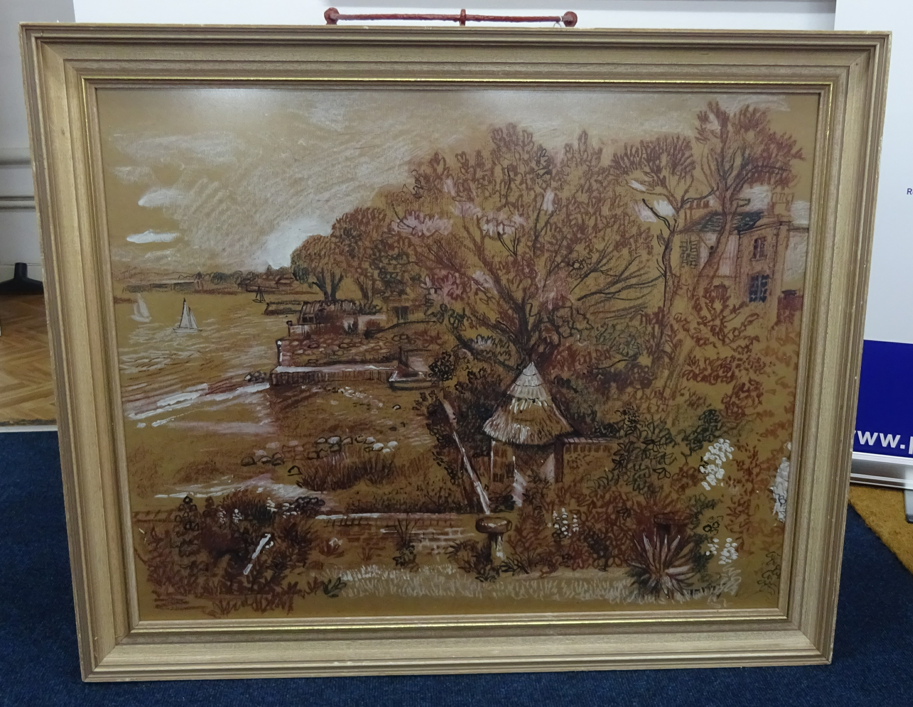 Lot 018 - Fred Yates (1922-2008) mixed media, river scene, signed, framed and glazed, 70cm x 78cm.