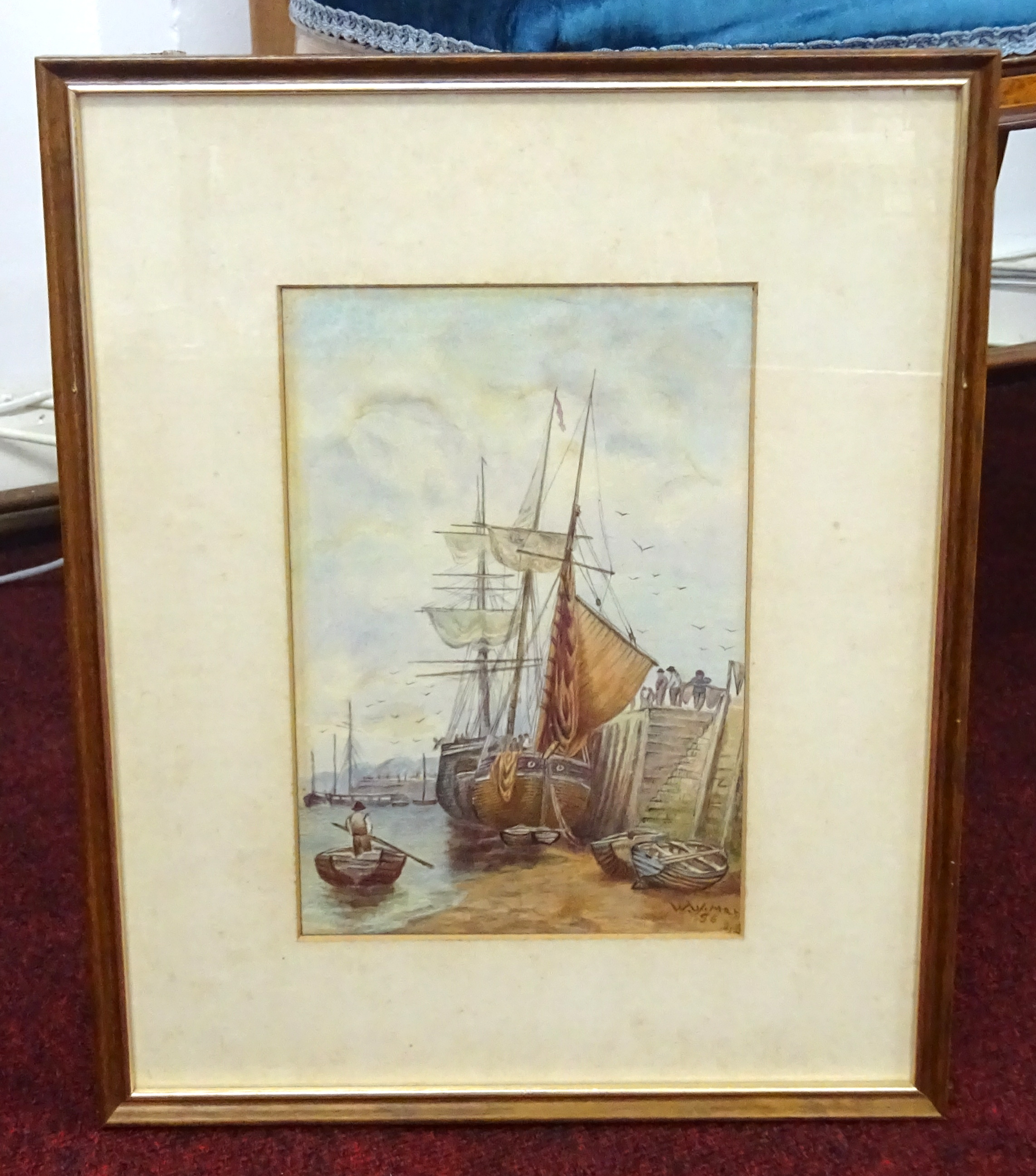 Lot 020 - William Walter May (1831-1936), watercolour, harbour scene, signed and dated '56, 25cm x 16.50cm,